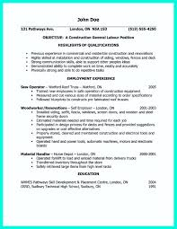 Resume Example Objective Resume Template For Construction Worker Objective Sample
