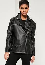 fashion designer black oversized boyfriend faux leather biker jacket womens clothes s