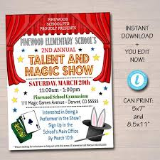 Talent Show Flyer Design Editable Talent Show Flyer Printable Pta Pto Flyer School Church Benefit Fundraiser Event Poster Digital Magic Party Printable Invitation
