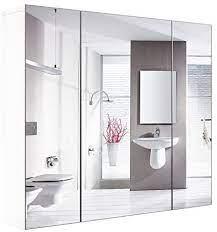 Amazon Com Homfa Bathroom Wall Mirror Cabinet 27 6 X 23 6 Inch Multipurpose Storage Organizer Medicine Cabinet Space Saver With 3 Doors Adjustable Shelf Kitchen Cupboard White Kitchen Dining