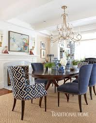 elegant furniture and lighting. blue and white dr with chinoiserie patterned head chairs grass elegant furniture lighting