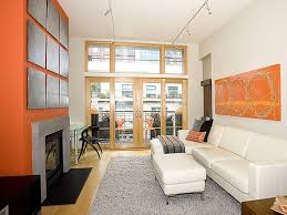 Orange Living Room Sets Orange Accent Wall Color And Glass French Doors For Small Living