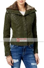 women s green quilted faux leather er jacket with fur collar