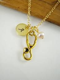 rn necklace luxury personalized stethoscope pendant necklace gold nurse medical school