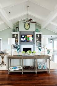 ideas to decorate a room with cathedral or vaulted ceiling and fireplace.  Artwork and decor