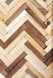 herringbone pattern wall art using wood