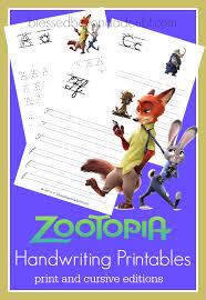Free Zootopia Handwriting Printable Set Print And Cursive
