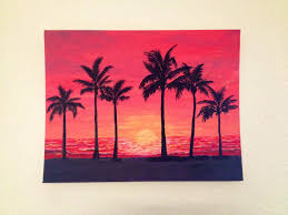 sunset with palm tree silhouettes acrylic painting by katejpaint on