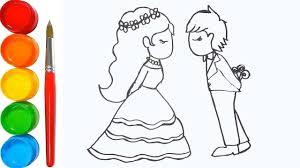 Dạy bé tập vẽ cô dâu chú rể - Tập tô màu cho cô dâu chú rể - Video hướng...