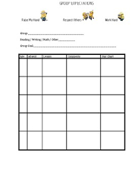 Small Group Data And Goal Chart