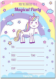Birthday Invitation Party 30 Unicorn Birthday Invitations With Envelopes 30 Pack Kids Magical Birthday Party Invitations For Girls