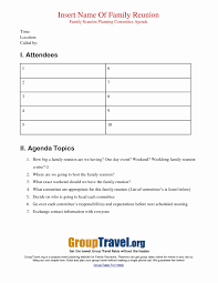 Agendas For Meetings Templates Free Lovely Family Reunion Letter ...