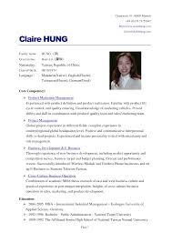 English Resume Format Cv Curriculum Vitae English Wenneker