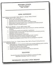 sample page of printed resume
