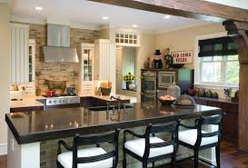 Top Kitchen Kitchen Stylish Brick Stone Kitchen Island Black Granite Top