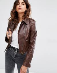 asos leather biker jacket in classic fit with stitch detail