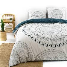 anisheka rosette print cotton duvet cover blue white la redoute interieurs la redoute