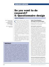 How To Design Survey Questions Pdf So You Want To Do Research 5 Questionnaire Design