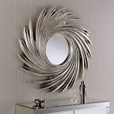 Large Round Sunburst Swirl Wall Mirror Finished In Silver Only 149