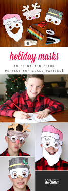 Kids Holiday Masks To Print And Color Masking Holidays And Craft