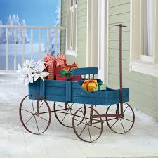 wooden planter wagon wheelbarrow garden outdoor flower backyard decor rustic