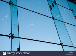 Low Angle View From Inside Looking Out Of A Large Glass Office