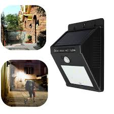 solar power 6 led pir motion sensor light outdoor garden wall lamp