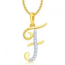 ara letter f gold and rhodium plated cz alphabet pendant