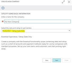 Creating A New Company Production Setup Data Only