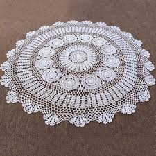 white hand crochet table cloth topper round tablecloth vintage lace doily 35inch