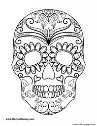 Small Picture Day Of The Dead Sugar Skull Coloring Page Printable Click Pages