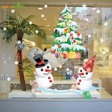 Discount snowman wall murals The New Shop Window Snowman Tree Christmas  Wall Sticker Christmas Decorations For