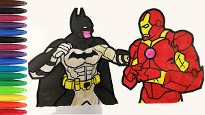 You can color his suit in black and gray and the logo on his chest would be a mix of black and yellow. Batman V Ironman Coloring Pages Sailany Coloring Kids Youtube