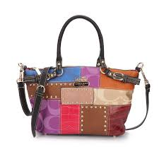 Coach Holiday Kelsey In Signature Medium Black Multi Satchels EBN