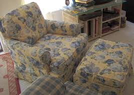 shabby yellow and blue fabric fl slipcover chair with back and double arms