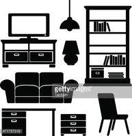 living room furniture clipart. living room furniture icons set, black isolated vectors clipart
