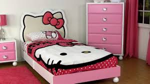 bedrooms for girls hello kitty. Unique Bedrooms Twin Girls Bedroom Decor With Hello Kitty Headboard And Pink Plain Bed  Frame Bedroom To Bedrooms For D