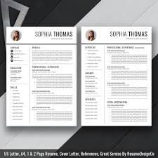 Resume Template Cv Template Cover Letter Us Letter A4 Word
