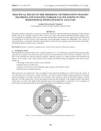 pdf practical issues on the modeling of permanent magnet machines and cogging torque calculations in two dimensional finite element ysis
