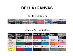 Bella Canvas Unisex T Shirt Color Chart Toffee Art