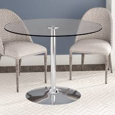 Round glass dining table 36 Inch Wayfair Wade Logan Cavell Round Glass Dining Table Reviews Wayfair