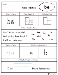 Kids. at words worksheets: High Frequency Word Be Printable ...