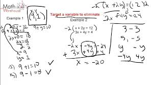 1 2 elimination method for solving systems of linear equations