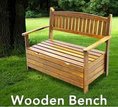 wooden garden storage bench