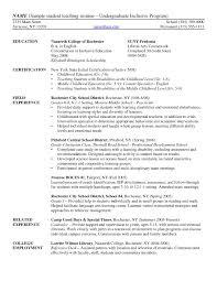 Resume Examples Elementary Student Teaching Resume Undergraduate