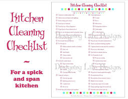 hourly checklist template kitchen cleaning checklist pdf printable home management
