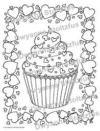 How to draw a cute cupcake monster folding surprise. Valentine Cupcake Coloring Page Pdf Etsy