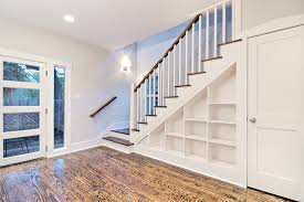 Customized staircase with built-in shelves traditional-staircase