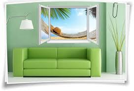 Wandtattoo Wandbild Fenster Meer Urlaub Hängematte Wohnzimmer