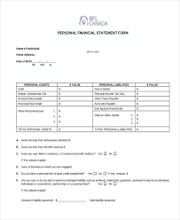 Personal Financial Statement Blank Forms Sample Personal Financial Statement Form 7 Free Documents In